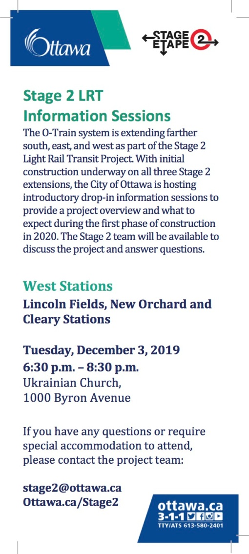 Confederation West - Lincoln Fields, New Orchard, Cleary - Fall 2019 Info Sessions Invitation
