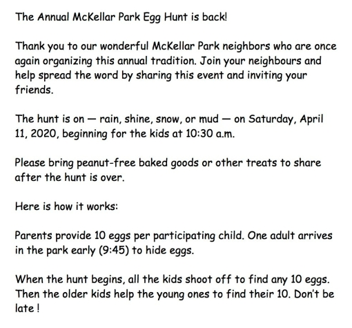 The Annual McKellar Park Egg Hunt is back